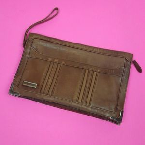 Vintage Brown Distressed Leather Clutch